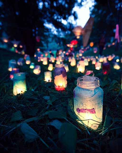 Colourful garden lights